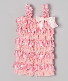 This Pink Polka Dot Ruffle Romper - Infant by Posh Peanuts is perfect! #zulilyfinds