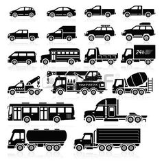 heavy lorry: Cars icons set. Vector illustration.