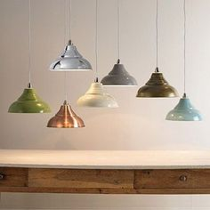 In great colours and simple to fit, these stylish metal ceiling pendants are an easy way to add some vintage chic to your home. Great over a breakfast bar or as a stylish finishing touch to an office, kids' room or hallway. There's no fiddly wiring required, they simply fix over a standard ceiling fitting. Available in seven lovely colours - choose from cream, green, putty, powder blue, chrome, storm grey and copper. Max 60W bulb. Measure: Diameter 30.5cm #lamps #lighting £30