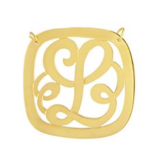 "Square framed 1.25"" initial script monogram necklace. Sterling Silver 14kt. Gold Plated. Free Shipping"
