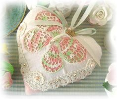 Door Hanger Heart Pillow  6 inches Butterfly by CharlotteStyle, $22.00