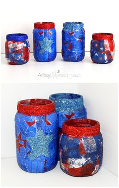 Fun, Festive, DIY 4th of July Lanterns made with upcycled baby food jars!   [sponsored] #HugtheMess