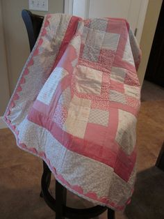 Handmade Baby Girl Quilt Pink and Grey by meetmeinstlouis on Etsy, $60.00
