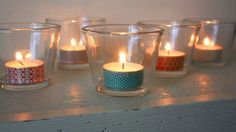 Washi Tape your tea lights! So cute! #washitealights #washitapecandles