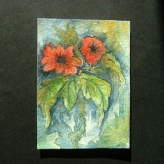 Art painting aceo SFA original paintings floral flowers 93 £4.00