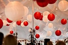 Decor: I love paper lanterns... I would use white lace lanterns with red honeycomb.