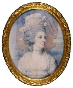 Queen Charlotte, miniature by Richard Cosway. Watercolor on ivory. (1795)