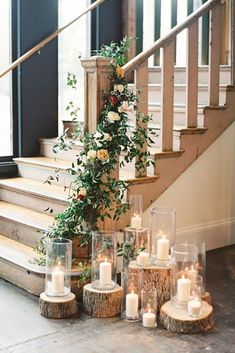 A romantic, rustic stairwell decoration from a South Carolina wedding. But maybe as a rustic Christmas decoration? Wedding Table, Wedding Reception, Our Wedding, Wedding Country, Wedding Rustic, Trendy Wedding, Wedding Bells, Autumn Wedding, Holiday Wedding Ideas