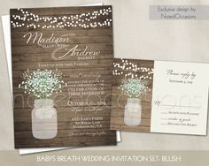 Rustic Wedding Invitation Printable Mason Jar and Baby's Breath Wedding Invites   String Lights Barn Wood Country Wedding Suite DIY digital