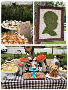 Woodland First Birthday - top left photo - love the desserts!