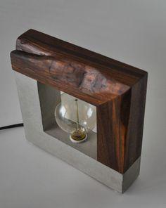 Large Handmade Concrete and Live Edge Walnut Wood Table Lamp