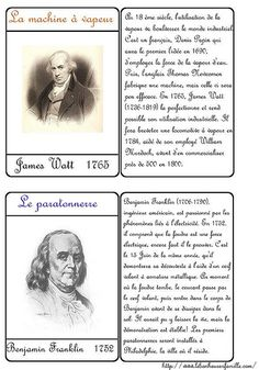 Le bonheur en famille: Cartes inventions, James Watt et Benjamin Franklin...