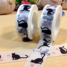 2015 nova 15 mm * 10 m dos desenhos animados gato preto impressão fitas Washi papel japonês / fita adesiva / decorativo fitas adesivas / material escolar(China (Mainland))
