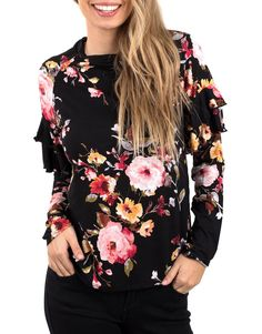 aca3c700a7ce6 Black floral blouse - Luxe - Shirts   Blouses - Clothing - Women