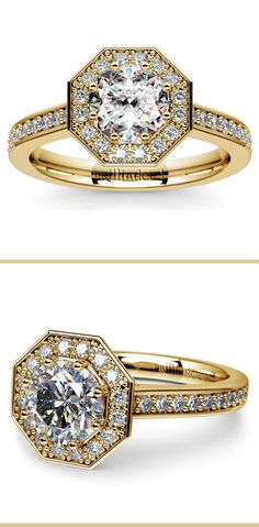 Thirty six round cut diamonds are prong set in this yellow gold diamond engagement ring setting, accenting your choice of center diamond.