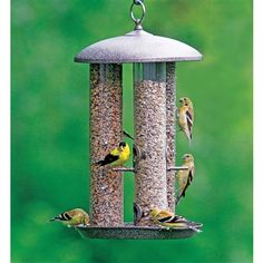 Triple Tube Feeder.  Three Feeders in one. The high quality Stokes Select Triple Tube Feeder includes 3 different tube feeders designed to attract the widest variety of birds. This all metal Feeders includes a seed tube, finch tube, and screen tube. #birdfeeder