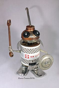 """""""S - 8"""" ~ Found object, junk art automotive related warrior created by Laurie Schnurer in 2016. To purchase one of Laurie's Creatures go to https://www.facebook.com/LauriesCreatures."""