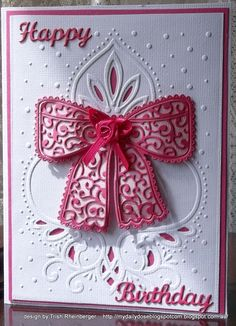 Tattered lace bow birthday card - Scrapbook.com