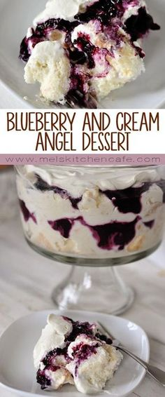 This heavenly blueberry and cream angel dessert is a mess of heaven on a plate. This heavenly blueberry angel food cake dessert is light and delicious! So simple to prepare, it is the perfect ending to any meal (I always get asked for the recipe! Angel Food Cake Desserts, Desserts Nutella, Easy Desserts, Delicious Desserts, Dessert Recipes, Yummy Food, Birthday Desserts, Angel Food Cake Trifle, Dessert Food