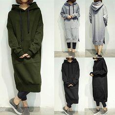 ZANZEA Womens Long Sleeve Loose Casual Plus Sweatshirt Hoodies Long Maxi Dress - Ideas of Sweatshirt Dress Long Shirt Dress, Sweatshirt Dress, Hoodie Sweatshirts, Fleece Hoodie, Hoodies, Sweat Shirt, Oversized Hoodie Dress, Hooded Dress, Overall Dress