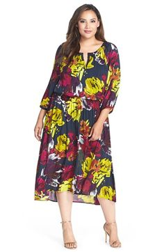 London Times Floral Print High/Low Blouson Dress (Plus Size) available at #Nordstrom