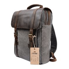 Amazon.com: S-ZONE Retro Canvas Leather School Bookbag Travel Backpack Rucksack Computer Laptop Bag: Clothing