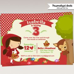 Little Red Riding Hood Birthday Party Invitation - Printable DIY Invitation - Personalized Invite card DIY party printables will save you time and money while making your planning a snap! Party Printables, Red Riding Hood Party, Red Ridding Hood, Red Party, Printable Invitations, Little Red, Birthday Party Invitations, Party Themes, Cakes
