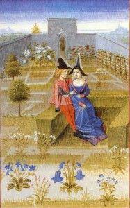 Pierre de Crescens, Rustican ou Livre des profits champêtres, Couple sur une banquette – 1373, BNF Arsenal