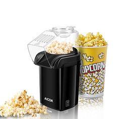 Hot Air Popcorn Maker, Aicok Retro Popcorn Machine, Healthy and Fat-Free Popcorn Popper, Measuring Cup, Removable Lid Hot Air Popcorn Popper, Air Popcorn Maker, Air Popper, Free Popcorn, Best Microwave Popcorn, Tapas, Popcorn Seeds, Pop Corn, Kitchenaid