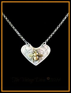 Hill Tribe Sterling Silver Save the Bees Queen Bee Pendant Necklace | TheVintageDiva - Jewelry on ArtFire