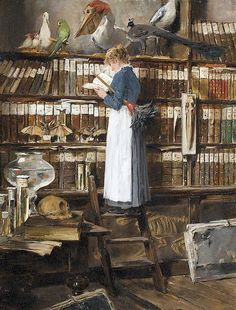 Édouard John Mentha (also Menta) Swiss? / 'Lesendes Dienstmädchen in einer Bibliothek' '[Maid reading in a library]', c. depicts maid standing on a library ladder engrossed in reading a book instead of dusting bookshelves Reading Art, Woman Reading, Reading Books, Reading People, World Of Books, Oeuvre D'art, Good Books, Book Art, Art Gallery