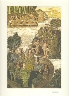 """Tras la cena - El Decamerón de G. Boccaccio, con grabados originales de Celedonio Perellón - Jornada II :: Los veinticuatro grabados al aguafuerte y al aguatinta, ceñidos y luminosos, vivos y mordaces, culta y sensualmente mediterráneos que Perellón nos ofrece en los dos primeros tomos de la obra, responden fielmente a la idea del maestro Eugenio D'Ors cuando escribió sobre """"El Decamerón"""": """"Lo que llamamos alegre, gozoso, es su sintaxis... Boccaccio es como Giorgione."""" :: © 2008 Liber…"""