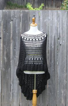 CROCHET BLACK PONCHO Shawl Victorian Circle Vest  Wrap Fashion Chic Boho Knit Handmade Mandala Ooak Trendy Plus Size