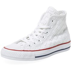 Converse Women's Chuck Taylor All Star Woven Hi-Top - White, Size... ($55) ❤ liked on Polyvore featuring shoes, sneakers, white, converse high tops, white hi top sneakers, white trainers, high top platform sneakers and converse sneakers