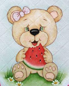 Bom dia 🍉 #pinturaemtecido #pintadoamão #pinturaemfralda #feitocomamor Tatty Teddy, Baby Painting, Fabric Painting, Brother Innovis, Butterfly Template, Cute Teddy Bears, Woodland Animals, Baby Cards, Preschool Crafts