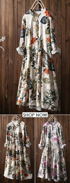 Leaves Floral Print Pleated Long Sleeve Vintage Dress is high-quality, see other cheap summer dresses on NewChic. Mode Outfits, New Outfits, Trendy Outfits, Dress Outfits, Casual Dresses, Belted Shirt Dress, Tee Dress, Long Sleeve Vintage Dresses, Cheap Summer Dresses
