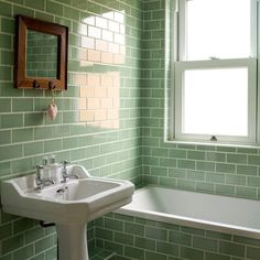 Green Bathroom Tiles Design - Are you in need of bathroom design ideas? 1930s Bathroom, Retro Bathrooms, Small Bathroom, Bathroom Ideas, Bathroom Vintage, Classic Bathroom, Bathroom Wall, Metro Tiles Bathroom, Edwardian Bathroom