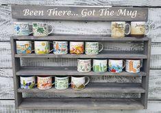Coffee Cup Rack, Coffee Mug Display, Coffee Mug Holder, Coffee Cups, Coffee Mug Storage, Mug Rack, Rack Shelf, Shelf Wall, Grey Stain