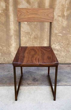 walnut seat + metal frame chair (variations shown below main image) size- w x d x 34 h, seat height * please note walnut is a soft wood and over time will show inherent wear from… Wood Chair, Metal Dining Chairs, Dining Chairs, Wood Bar Stools, Metal And Wood Chairs, Chair, Metal Chairs, Metal Frame Chair, Metal Wood Bar Stool