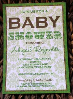 green and brown party   Green and Brown Damask Baby Shower Invitations by Paper Monkey Company ...