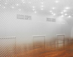 detail of the gradient dot pattern on the walls at the Anzas Dance Studio in China | Designed by Tadashi Tsutsumi.
