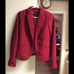 Red blazer with striped lining One button blazer with red/white striped lining, practically brand new, barely worn. The Limited Jackets & Coats Blazers