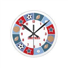 All Stars Sports theme Nursery Wall Clock