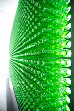 video wall made up of heineken bottles