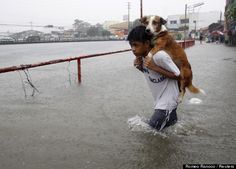 A boy carries his dog whilst wading in floodwaters brought by the monsoon rain, intensified by tropical storm Trami, in Paranaque city, metro Manila August 20, 2013.