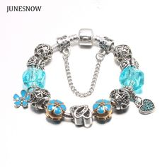 JUNESNOW Silver Plated Blue Bead Animal Best Friend Charm  Bracelet with Safety Chain for Women Original Jewelry ZY1538