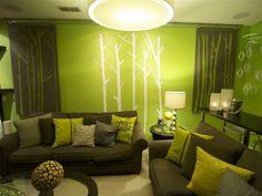 wandgestaltung mit farbe wohnzimmer grün - http ... - Wohnideen Wohnzimmer Braun Grun