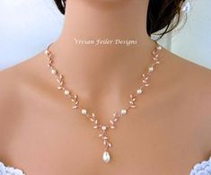 Wedding Necklace Pearl Rose Gold Y Bridal VINE Cubic Zirconia Maid of Honor Mother of the Bride Matching Hair accessory https://www.etsy.com/listing/547065092/rose-gold-vine-bridal-hair-piece-pearl Matching Bracelet: