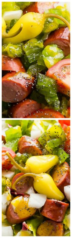 Chicago-Style Hot Dog Salad ~ The country's best loaded hot dog just got a lower-carb makeover. Ditch the bun and build your Chicago-style dog in a bowl with this clever recipe. The honey-mustard dressing brings it all together like you won't believe