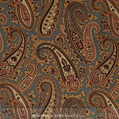 Caswell County - Teal Paisley Yardage - Jo Morton - Andover Fabrics